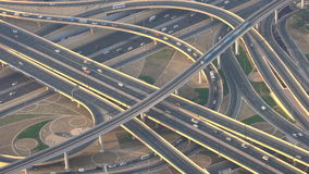 Aerial view of busy highway intersection & junction Dubai. Aerial view of busy highway intersection & junction, Dubai, United Arab Emirates stock video