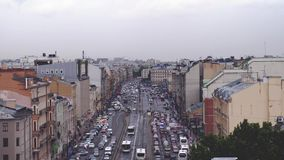 Russia, Saint Petersburg, 20 june 2017. Aerial view of busy street, heavy traffic in the evening. Big city life concept. Aerial view of busy street, heavy stock video