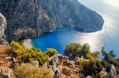 Aerial view of Butterfly valley in Oludeniz. Sunny summer beach landscape top view. Fethiye, Turkey nature landmark stock photo