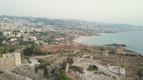 Aerial view of Byblos - Jbeil in Lebanon. Historical city in the mediterranean sea in the middle east.