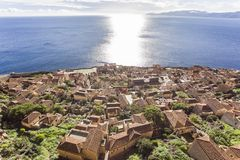 Aerial view on Byzantine town of Monemvasia, Greece. Views of Byzantine town of Monemvasia, Greece royalty free stock image