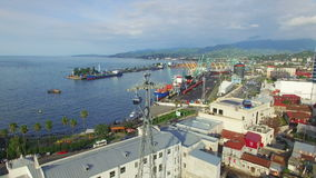 Aerial view of cableway and seaport of Batumi stock video