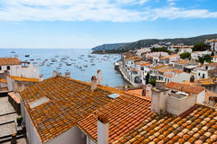 Aerial view of Cadaques, Costa Brava, Spain. Aerial view from above of Cadaques, Costa Brava, Spain royalty free stock image