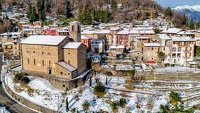 Aerial View of Cadegliano Viconago in winter, is a small village located above Ponte Tresa in the province of Varese. stock images