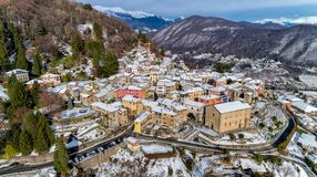 Aerial View of Cadegliano Viconago in winter, is a small village located above Ponte Tresa in the province of Varese. stock image
