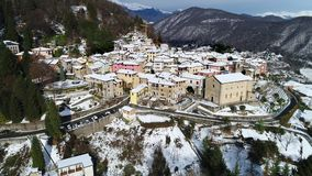 Aerial View of Cadegliano Viconago in winter, is a small village located above Ponte Tresa in the province of Varese. stock video footage