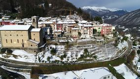 Aerial View of Cadegliano Viconago in winter, is a small village located above Ponte Tresa in the province of Varese. stock video