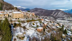 Aerial View of Cadegliano Viconago in winter, is a small village located above Ponte Tresa in the province of Varese. stock photo