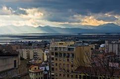 Aerial view of Cagliari cityscape and harbor, Sardinia Stock Image