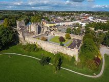 Aerial view. Cahir Castle. county Tipperary. Ireland. Aerial view of Cahir Castle. Cahir. co. Tipperary. Ireland Royalty Free Stock Photography