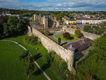Aerial view. Cahir Castle. county Tipperary. Ireland. Aerial view of Cahir Castle. Cahir. co. Tipperary. Ireland Stock Photos