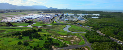 Aerial view of Cairns Airport in Queensland Australia Royalty Free Stock Photography