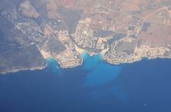 Aerial view of Cala Mendia Stock Photography