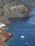 Aerial View of the Caldera and the Aegean sea as seen from Santorini Island Stock Image