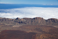 Aerial view on the caldera of the volcano Teide, Tener Royalty Free Stock Photography