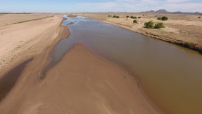 Aerial view of the Caledon river - South Africa stock footage