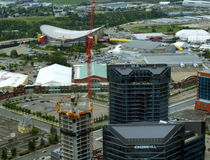 Aerial view of Calgary Stampede Grounds Stock Image