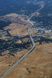 Aerial view of Californian highway road. Californian highway running through the hills Royalty Free Stock Photo