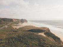 Aerial view on the Californian Pacific ocean cliffs. From above stock images