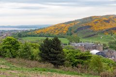 Aerial view from Calton Hill at Holyrood Castle Edinburgh, Scotland stock photography