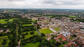 Aerial View of Cambridge University. And Colleges, in England United Kingdom - Helicopter Drone Shot Stock Photos
