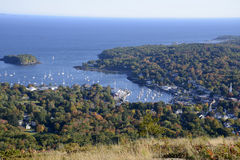 Aerial view of Camden Harbor in Maine stock photo