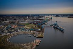 Aerial View of Camden New Jersey royalty free stock photo