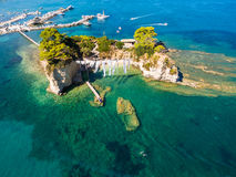 Aerial view of Cameo Island in Zakynthos Zante island, in Gree Stock Image