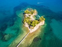 Aerial view of Cameo Island in Zakynthos Zante island, in Gree Royalty Free Stock Images