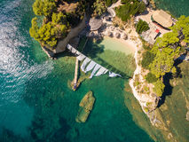 Aerial view of Cameo Island in Zakynthos Zante island, in Gree. Ce royalty free stock images