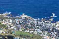 Aerial View of Camp Bay - Cape Town Coastline Stock Photos