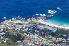 Aerial View of Camp Bay Coastline South Africa Royalty Free Stock Photo