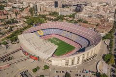 Aerial view of Camp Nou, home stadium of FC Barcelona royalty free stock photography