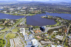 Aerial view of Canberra city Stock Images