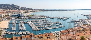 Aerial view of Cannes France. Aerial view of Le Suquet- the old town and Port Le Vieux of Cannes, France Panorama Royalty Free Stock Photos