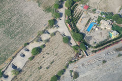 Aerial view of Cantalloc Aqueducts, Nazca, Peru. Stock Photography