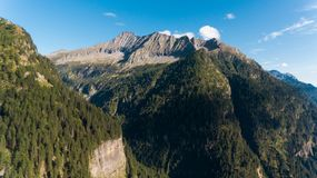 Aerial view in the canton Grisons in Switzerland. Aerial view of the Rossa valley in the canton Grisons in Switzerland Stock Images