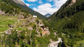 Aerial view in the canton Grisons in Switzerland. Aerial view of the Rossa valley in the canton Grisons in Switzerland Stock Image