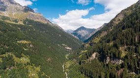 Aerial view in the canton Grisons in Switzerland. Aerial view of the Rossa valley in the canton Grisons in Switzerland Royalty Free Stock Photography
