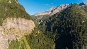 Aerial view in the canton Grisons in Switzerland. Aerial view of the Rossa valley in the canton Grisons in Switzerland Royalty Free Stock Photos