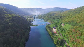 Aerial view of canyon and waterfalls on Una river, Bosnia stock footage