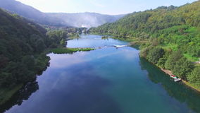 Aerial view of canyon and waterfalls on Una river, Bosnia stock video footage