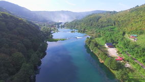 Aerial view of canyon and waterfalls on Una river, Bosnia stock video