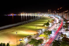 Aerial view of Capacabana Beach by night Royalty Free Stock Images