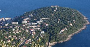 Aerial View Of Cape Martin. Cap Martin, Headland In Roquebrune-Cap-Martin, Coast Between Monaco And Menton On The French Riviera, Mediterranean Sea, Southern stock video footage