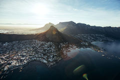Aerial view of cape town city with devil's peak Stock Images