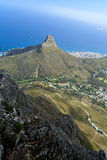 Aerial View of Cape Town Coastline and Lion Head Mountain Royalty Free Stock Image