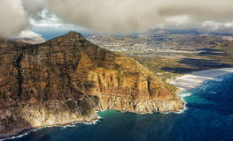Aerial view of Cape Town. Overall aerial view of Cape Peninsula, South Africa stock photos