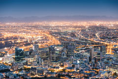 Aerial view of Cape Town from Signal Hill after sunset Royalty Free Stock Image