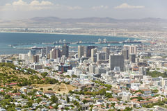 Aerial view of Cape Town skyline and harbor from Table Mountain, South Africa Stock Photo